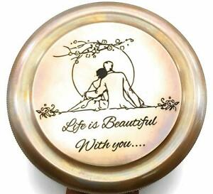 Life is beautiful with you poem Engraved compass love,Sorry, Valentines day gift