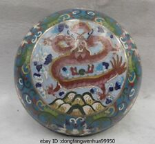 China Brass Copper Cloisonne Enamel Handwork Carved Dragon Weiqi Case Chess Box