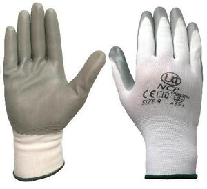 2 Pairs UCI NCP Nitrile Palm Coated Lightweight Work Gloves - White / Grey