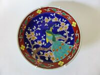 Oriental Peacock and Blossom Plate, Vintage, Japan, Hand Painted Wall Plate