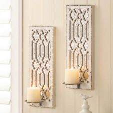 """2 Deco Mirror Sconce 17"""" Ivory Candle Holder Wall Decor"""