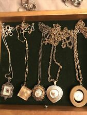 LOT 5 Mid Century Modern VINTAGE LADIES PENDANT WATCHES Inc. Sterling Silver