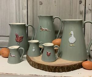 Grey Stoneware Kitchen Jug Pitcher Hare Duck Hen Chicken China Country Milk