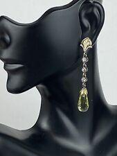 Ann King Peridot  Drop Earrings 925 Sterling Silver 18k Gold