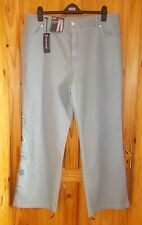 M&S blue stretch denim easyfit jeans trousers pants BNWT floral embroidery 22 50