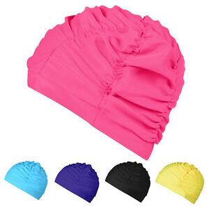 1pcs Unisex Long Hair Drape Elastic Swimming Caps Hat Protect Ears Swim Hat AU