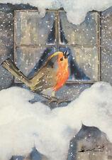 Postkarte: Winter / Mili Weber - Rotkehlchen im Schnee
