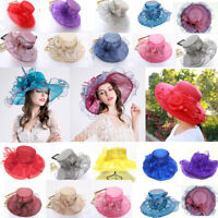 Women Lace Wide Brim Church Kentucky Derby Cap Sheer Dress Wedding Tea Party Cap