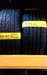 205 45 16 PART WORN TYRES FITTED AND BALANCED