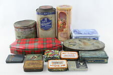 14 x Assorted Vintage BRANDED TINS Inc Biscuits, Tobacco, Cigarettes, Fox's Etc