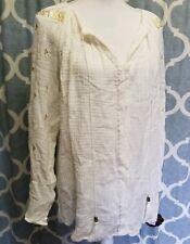 4b3dd13b9e2 Knox Rose 1x XL White Gold Tassel Boho Flowy Shirt Blouse Hippy Renaissance
