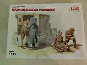 ICM 35694 US Medical Personnel, 4 figures, 1/35 scale plastic model kit, WWI