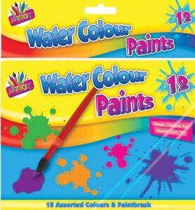 Artbox Water Colour PaintS -Children Crafts 12 colours + paintbrush tin set