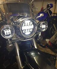 7″ Black Headlight LED Light Bulb Headlight with DRL Accent Lights 75W BRIGHT