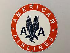 "American Airlines Heavy PORCELAIN ENAMEL SIGN Ande Rooney 11 1/4"""