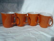 4 Burnt Orange  D handle vintage MOD  Pyrex Corning Coffee mugs cups 1960s 1970s