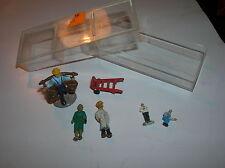 "Miniature Scale Train or Dollhouse 6 Figurine Guys & Luggage Cart 1/2 to 1"" x"