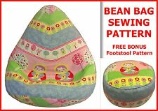 Kids & Adult BEANBAG SEWING PATTERN cd + BONUS FREE  Foot Stool Cushion Pattern.