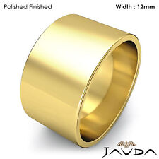 Wedding Band Women Plain Flat Pipe Cut Ring 12mm 18k Yellow Gold 12.9g Sz 7-7.75