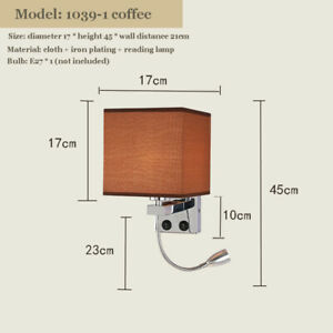 USB Square Shade E27 Bulb Wall Lights LED Lamp Hote Design Reading Light Flexi