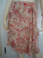 ANN TAYLOR PETITES Skirt 2P Sheer Silk Faux Wrap Paisley Floral Lined STUNNING!