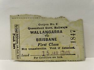 Queensland Railways QGR Wallangarra to Brisbane First Class Ticket 1968