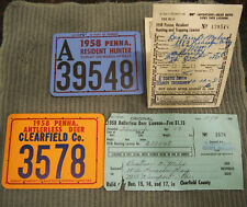 1958 PA Antlerless + Resident Hunter License Clearfiled County w/ Paperwork