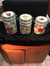 Certified International FRUIT CANISTERS 3 W/Locking LIDS CERAMIC