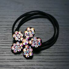QUALITY Hair Rope Band use Swarovski Crystal Hairpin Ponytail Holder Flower AB