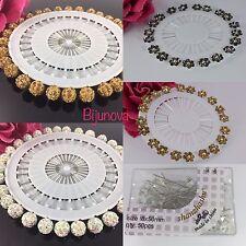 Crystal Diamante 20 Pcs Wheel Hijab Scarf Pin Snag-Free Long Sparkle Pins