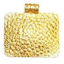 P2637f Gold Hammer Textured 40mm Domed Rectangle w Bail Plated Copper Pendant