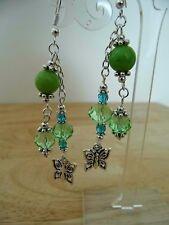 Pair of Jade Gemstone & Crystal Glass Beaded Earrings