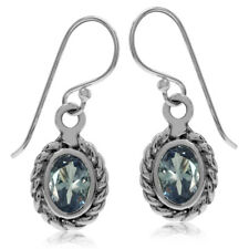 Simulated Color Change Alexandrite 925 Sterling Silver Rope Dangle Hook Earrings