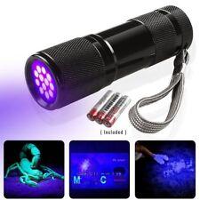 LE 9 LEDs 395nm UV LED Schwarzlicht Taschenlampe Handlampe mit Batterien Neu11