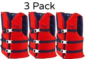 3  PACK Life Jackets Red Adult Type III Universal Ski Boating Vest Preserver NEW
