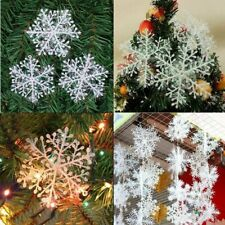 30pcs Christmas White Snowflake Charms Festival Hanging Decor Party Ornaments
