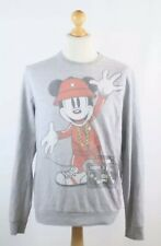 Vintage Retro Grey Graphic Mens Mickey Mouse Sweatshirt Jumper Top  Size M