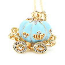 Betsey Johnson Enamel Crystal Cinderella Pumpkin Carriage Pendant Chain Necklace