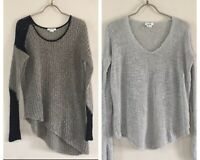 Lot Helmut Lang Boucle ColorBlock Sweater Med & Crop Back Silk Knit Sweater Sz P