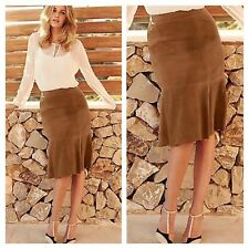 Kaleidoscope Size 18 A-Line Tan Suede Leather SKIRT Occasion Winter £150 New