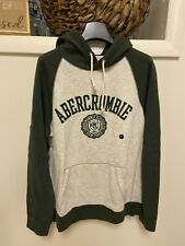 Abercrombie & Fitch Graphic Popover Hoodie Heather Grey Dark Green Small