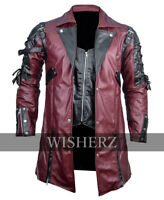 Punk Rave poison Jacket, Steampunk gothic Maroon&Black Leather Jacket,Custom Fit