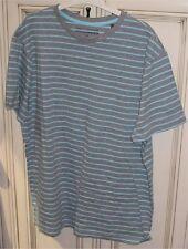 """Men's 22.5"""" Large DENVER HAYES T-Shirt Modern Fit Grey Gulf Blue Stripes"""
