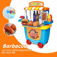 Pretend Role Play BBQ Set for Kids Game Barbecue play kit Food Cooking Gift Cart