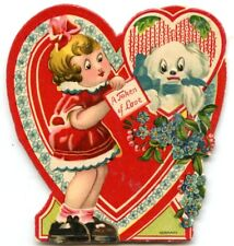 VALENTINE'S DAY CARD Vintage 1929 Sweet Young Girl Puppy GERMANY Used