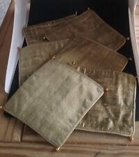 "Set of 6 GREEN fabric Mats 4.5"" square have corner EMBELISHMENTS Christmas READ"
