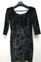 PEACOCKS BLACK VELOUR WITH GOLD STRETCH MINI BODYCON DRESS WITH 3/4 SLEEVES 14