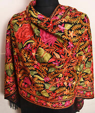 FLORAL ALL OVER EMBROIDERY 100% CASHMERE BLACK PASHMINA SHAWL~ 8 DESIGNS CHOICE