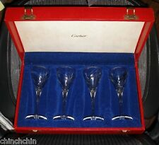 IMPECCABLE Super Rare SET of 4 SIGNED CARTIER Goblets NEW in BOX Glasses NOS ART