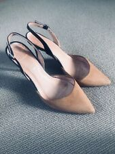 Office, Brown Suede Sling Back, Pointed Court Shoes, Medium To High Heel, Size 6